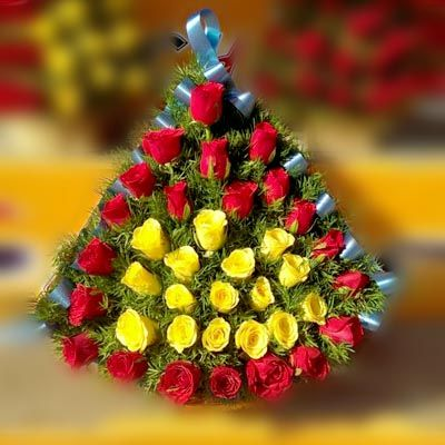 24 Red & Yellow_Roses_Basket